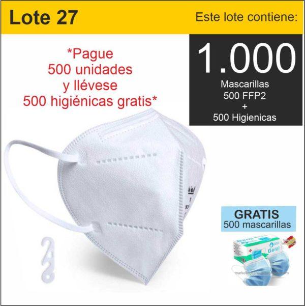 LOTE 27 MASCARILLAS FFP2 GRATIS 500 HIGIENICAS