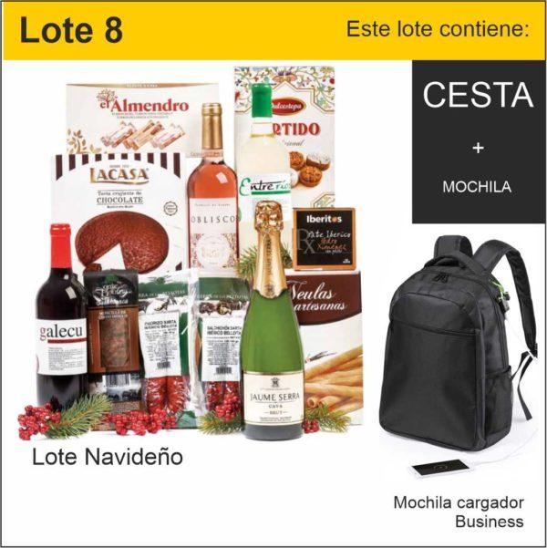 lote 8 cesta navidad y mochila business cargador de telefono